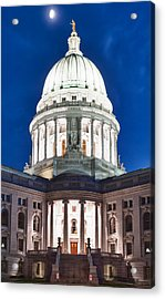 Wisconsin State Capitol Building At Night Acrylic Print by Sebastian Musial