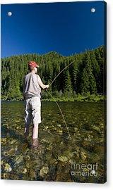 Woman Fly Fishing, Kelly Creek Acrylic Print