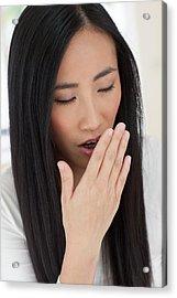 Woman Yawning Acrylic Print by Ian Hooton