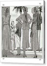 Women Wearing Designer Dresses Acrylic Print by Pierre Mourgue