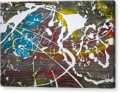 Wood Splattered With Paint Acrylic Print by Amy Cicconi