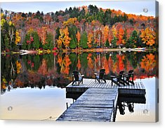 Wooden Dock On Autumn Lake Acrylic Print