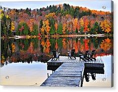 Wooden Dock On Autumn Lake Acrylic Print by Elena Elisseeva