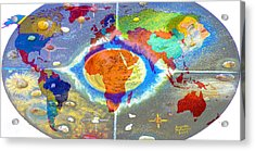 World Map And Barack Obama Stars Acrylic Print