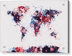World Map Paint Splashes Acrylic Print