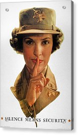 Wwii: Careless Talk Poster Acrylic Print by Granger