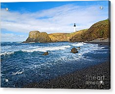 Yaquina Lighthouse On Top Of Rocky Beach Acrylic Print by Jamie Pham
