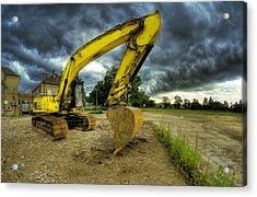 Yellow Excavator Acrylic Print by Jaroslaw Grudzinski