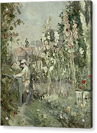 Young Boy In The Hollyhocks Acrylic Print by Berthe Morisot