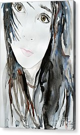 Acrylic Print featuring the painting Young Girl by Ismeta Gruenwald
