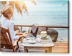 Young Woman Working On Laptop With Coffee And Young Coconut Acrylic Print by Jasmina007