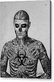 Zombie Boy Rick Genest Acrylic Print by Carlos Velasquez Art