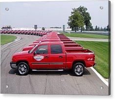 2004 Brickyard 400 Silverado Drive-away Vehicles Acrylic Print by Howard Kirchenbauer