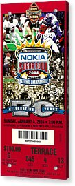2004 National Championship Ticket - Lsu Vs Oklahoma Acrylic Print by David Patterson