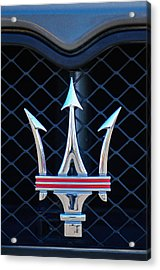 Acrylic Print featuring the photograph 2005 Maserati Gt Coupe Corsa Emblem by Jill Reger