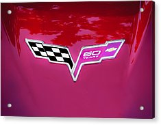 2013 Corvette 60th Anniversary Hood Logo Painted Acrylic Print by Rich Franco