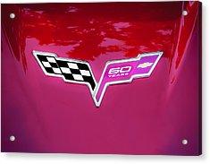 2013 Corvette 60th Anniversary Hood Logo Painted Acrylic Print