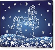 2014 Chinese Horse With Snowflakes Night Winter Scene Acrylic Print