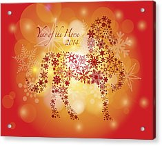 2014 Happy New Year Of The Horse With Snowflakes Pattern Acrylic Print