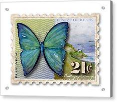 21 Cent Butterfly Stamp Acrylic Print by Amy Kirkpatrick