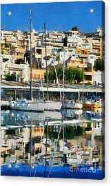 Reflections In Mikrolimano Port Acrylic Print