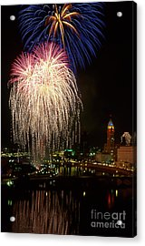 21l106 Red White And Boom Fireworks Photo Acrylic Print