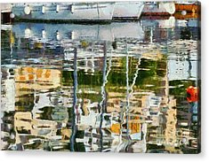 Reflections In Mikrolimano Port Acrylic Print by George Atsametakis