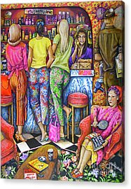 Shop Talk Acrylic Print by Linda Simon