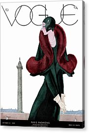 A Vintage Vogue Magazine Cover Of A Woman Acrylic Print by Georges Lepape