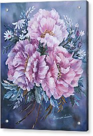 Peonies In Pink Acrylic Print by Frances Lewis