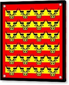 24 Spanish Bulls Acrylic Print by Asbjorn Lonvig