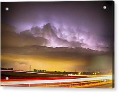 25 To 34 Intra-cloud Lightning Golden Light Car Trails Acrylic Print by James BO  Insogna