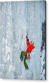Ice Climbing Acrylic Print by Elijah Weber