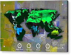 World Map Watercolor Acrylic Print by Marvin Blaine