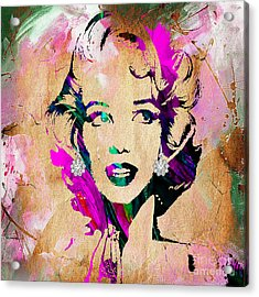 Marilyn Monroe Diamond Earring Collection Acrylic Print by Marvin Blaine