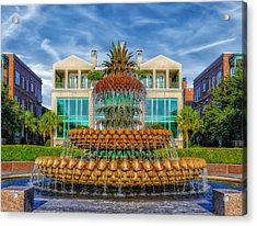 Pineapple Fountain - Morning At Waterfront Park Acrylic Print by Frank J Benz