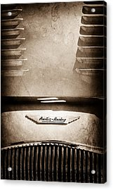 1956 Austin-healey 100m Bn2 'factory' Le Mans Competition Roadster Hood Emblem Acrylic Print by Jill Reger