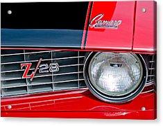 1969 Chevrolet Camaro Z 28 Grille Emblem Acrylic Print by Jill Reger