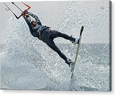 A Man Kitesurfing  Tarifa, Cadiz Acrylic Print by Ben Welsh