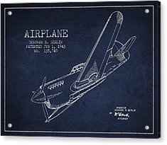 Airplane Patent Drawing From 1943 Acrylic Print