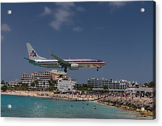 American Airlines At St. Maarten  Acrylic Print by David Gleeson