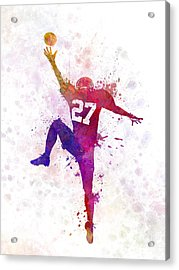 American Football Player Man Catching Receiving Acrylic Print by Pablo Romero