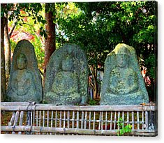Acrylic Print featuring the photograph 3 Ancient Buddhas by Julia Ivanovna Willhite
