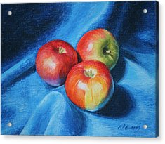 3 Apples Acrylic Print by Marna Edwards Flavell