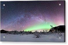 Aurora Borealis And Milky Way Acrylic Print by Tommy Eliassen