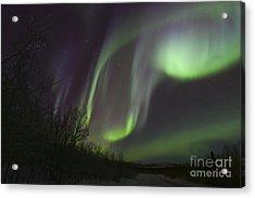 Aurora Borealis By Fish Lake Acrylic Print by Joseph Bradley