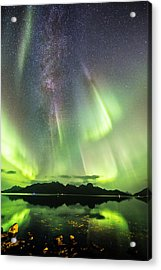 Auroras And Milky Way Acrylic Print