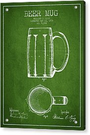 Beer Mug Patent From 1876 - Green Acrylic Print by Aged Pixel