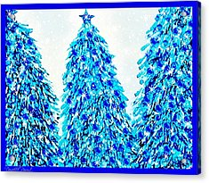 3 Blue Christmas Trees Alcohol Inks  Acrylic Print