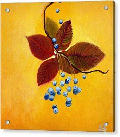 Acrylic Print featuring the painting Blue On Yellow by Katherine Miller